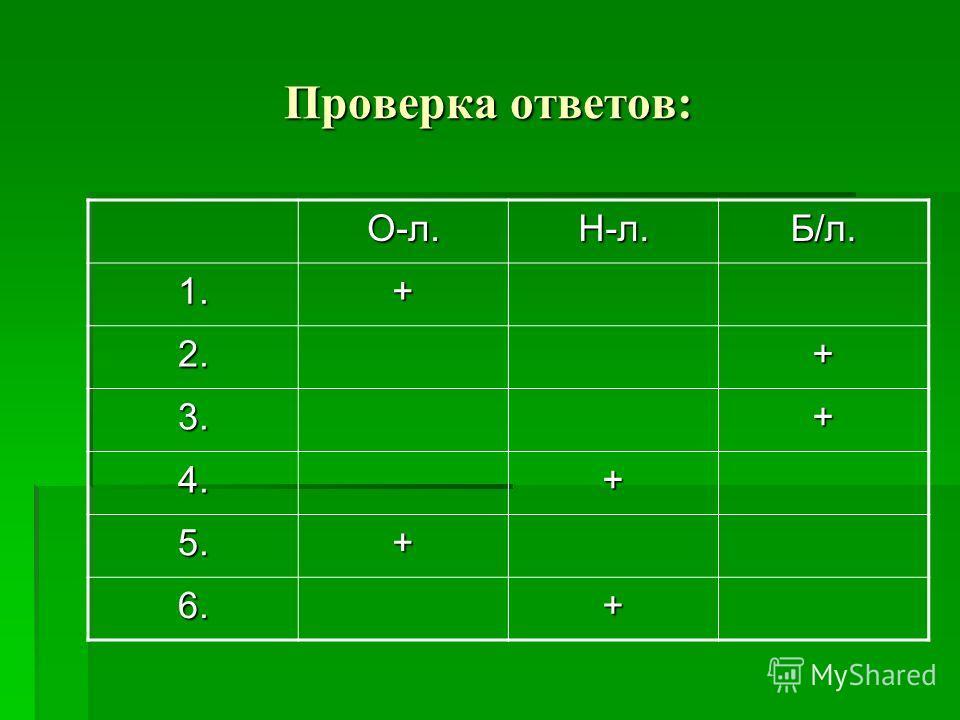Проверка ответов: О-л.Н-л.Б/л. 1.+ 2.+ 3.+ 4.+ 5.+ 6.+