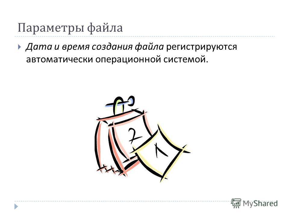 Параметры файла Дата и время создания файла регистрируются автоматически операционной системой.