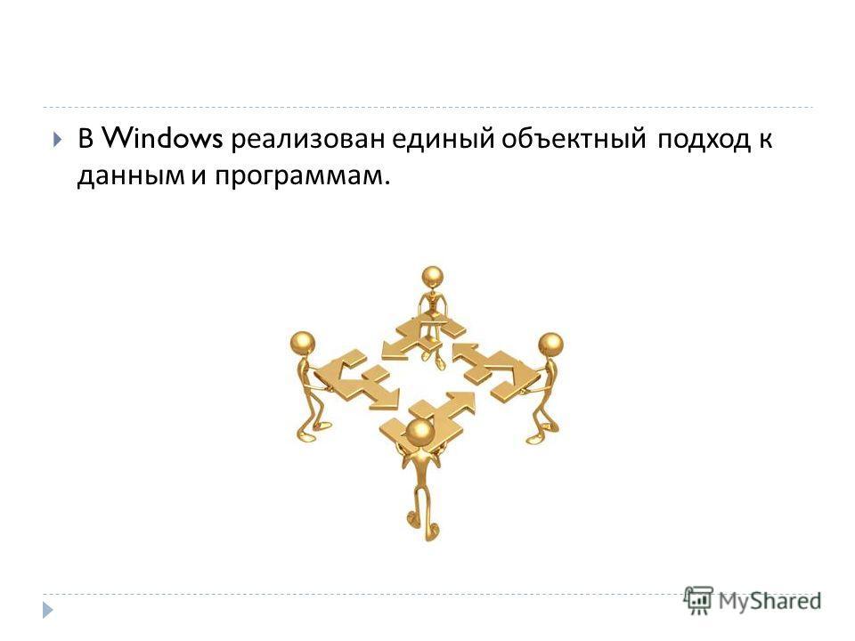В Windows реализован единый объектный подход к данным и программам.