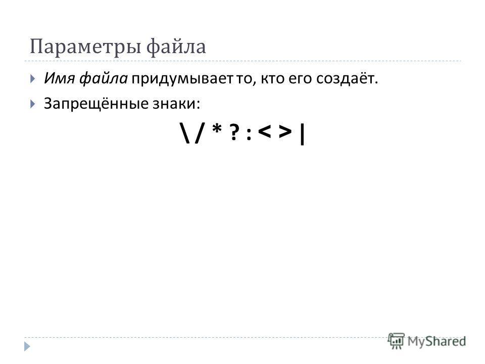 Параметры файла Имя файла придумывает то, кто его создаёт. Запрещённые знаки : \ / * ? : |