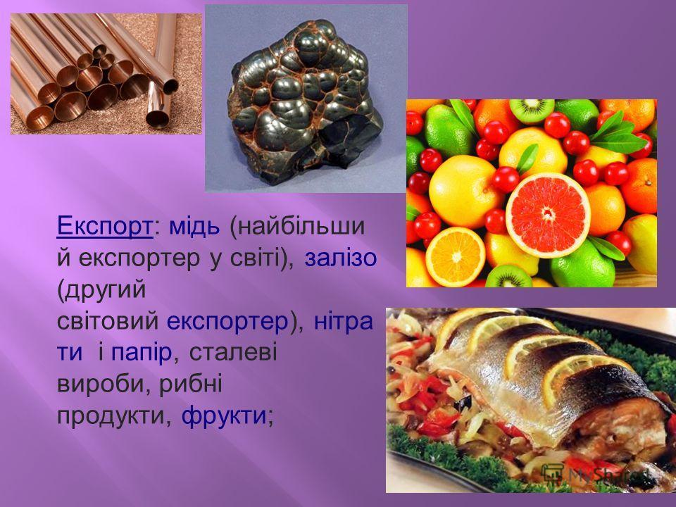 Експорт: мідь (найбільши й экспортер у світі), залізо (другой світовий экспортер), нітра ти і папір, сталеві вироби, рибні продукти, фрукты;