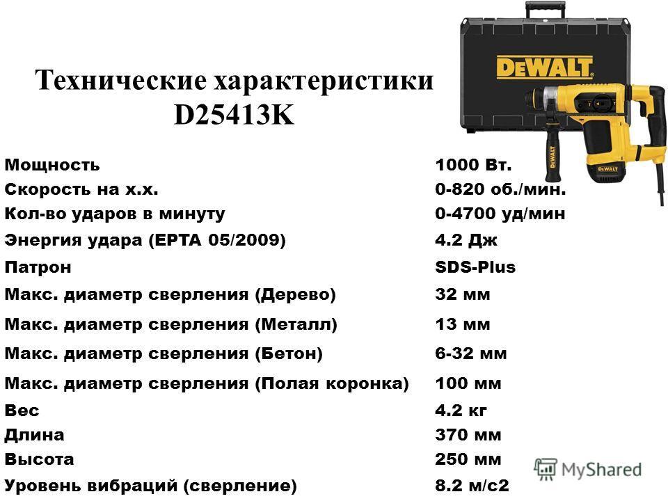 Мощность 1000 Вт. Скорость на х.х.0-820 об./мин. Кол-во ударов в минуту 0-4700 уд/мин Энергия удара (EPTA 05/2009)4.2 Дж ПатронSDS-Plus Макс. диаметр сверления (Дерево)32 мм Макс. диаметр сверления (Металл)13 мм Макс. диаметр сверления (Бетон)6-32 мм