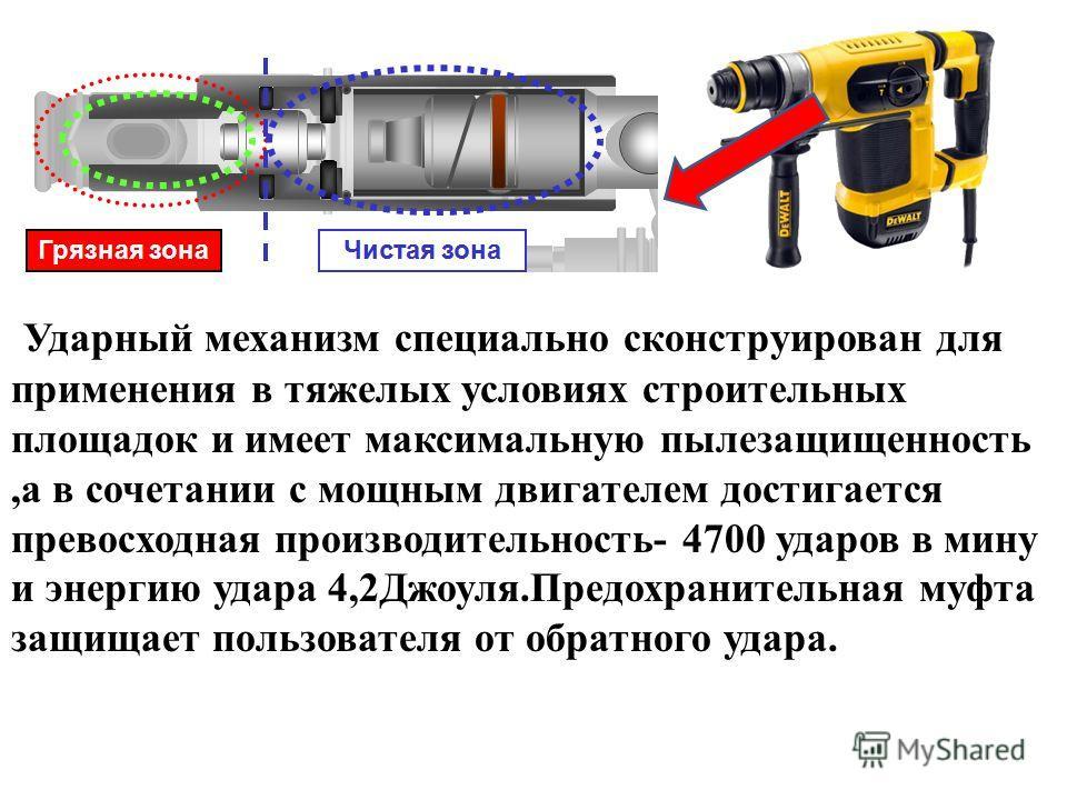 Ударный механизм специально сконструирован для применения в тяжелых условиях строительных площадок и имеет максимальную пылезащищенность,а в сочетании с мощным двигателем достигается превосходная производительность- 4700 ударов в мину и энергию удара