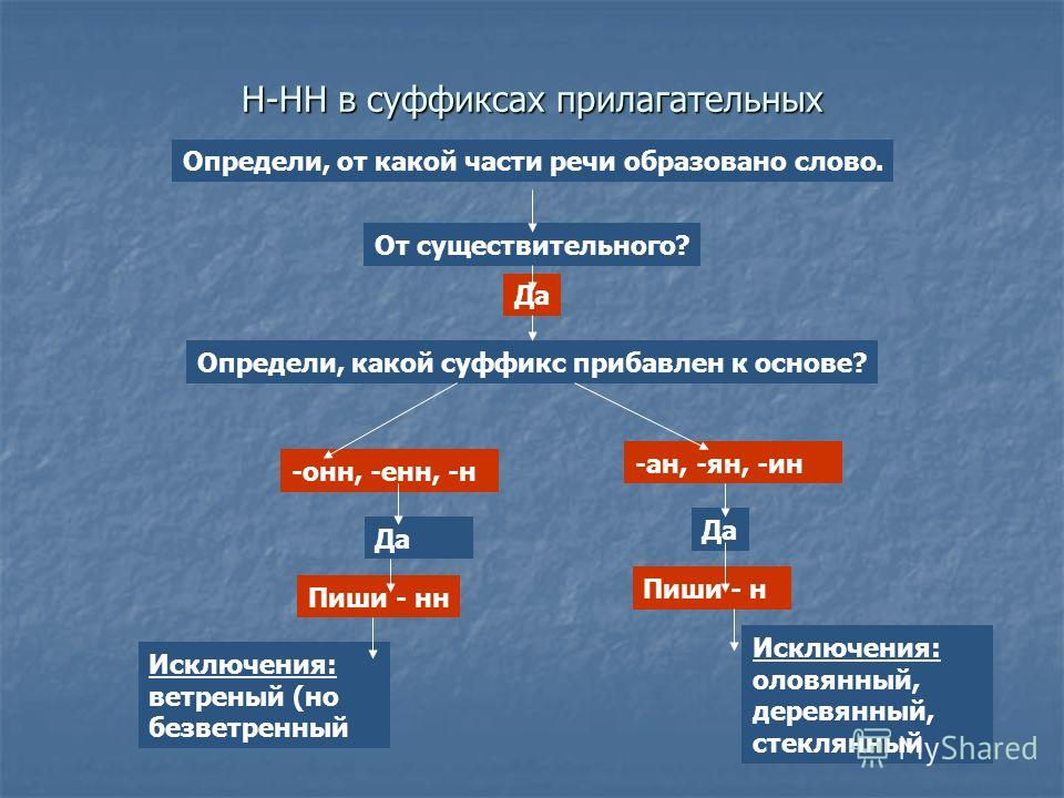 Н-НН в суффиксах прилагательных Определи, от какой части речи образовано слово. От существительного? Да Определи, какой суффикс прибавлен к основе? -оне, -ене, -н -ан, -ян, -ин Да Пиши - не Пиши - н Исключения: ветреней (но безветренеей Исключения: о
