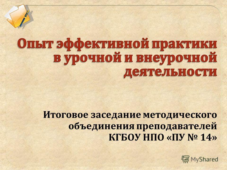 Итоговое заседание методического объединения преподавателей КГБОУ НПО «ПУ 14»