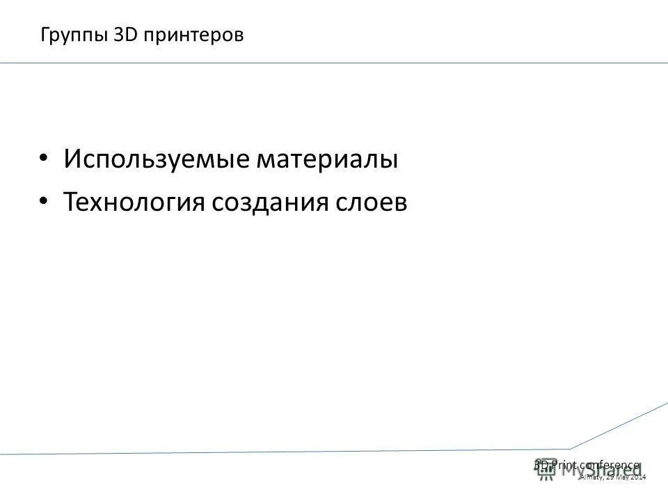 Группы 3D принтеров Используемые материалы Технология создания слоев 3D Print conference Almaty, 29 May 2014