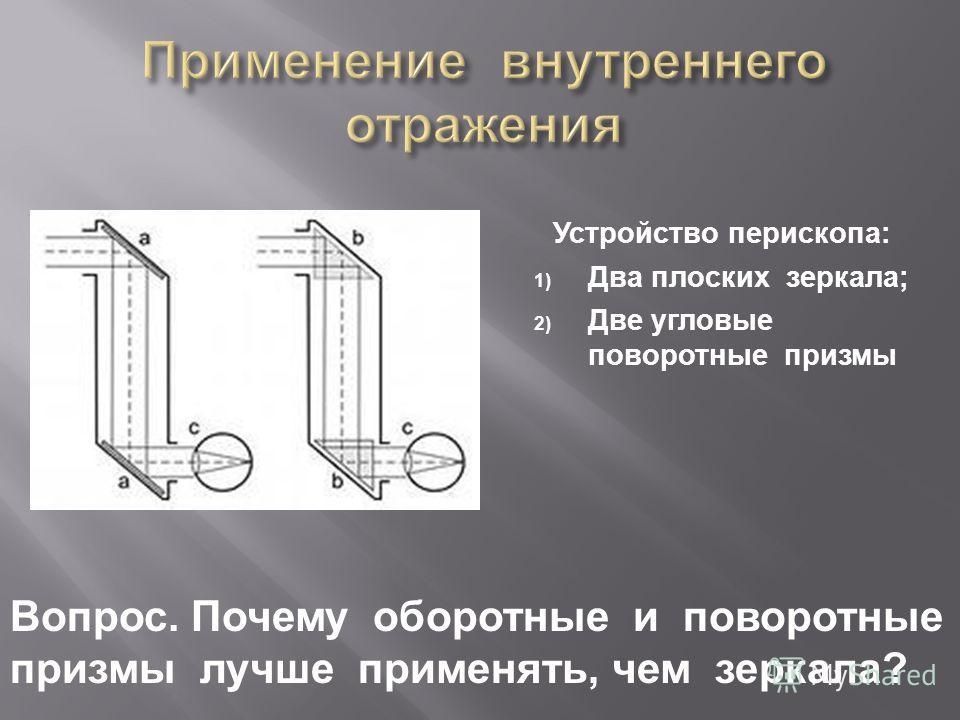 Устройство перископа : 1) Два плоских зеркала ; 2) Две угловые поворотные призмы Вопрос. Почему оборотные и поворотные призмы лучше применять, чем зеркала ?