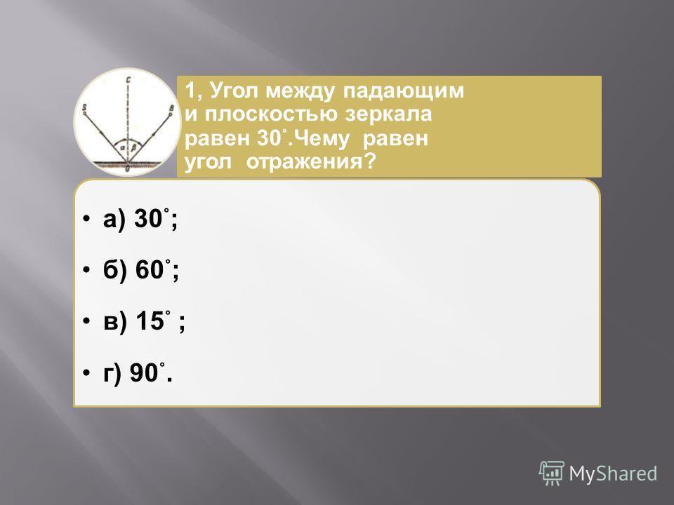 а ) 30°; б ) 60°; в ) 15° ; г ) 90°. 1, Угол между падающим и плоскостью зеркала равен 30°. Чему равен угол отражения ?