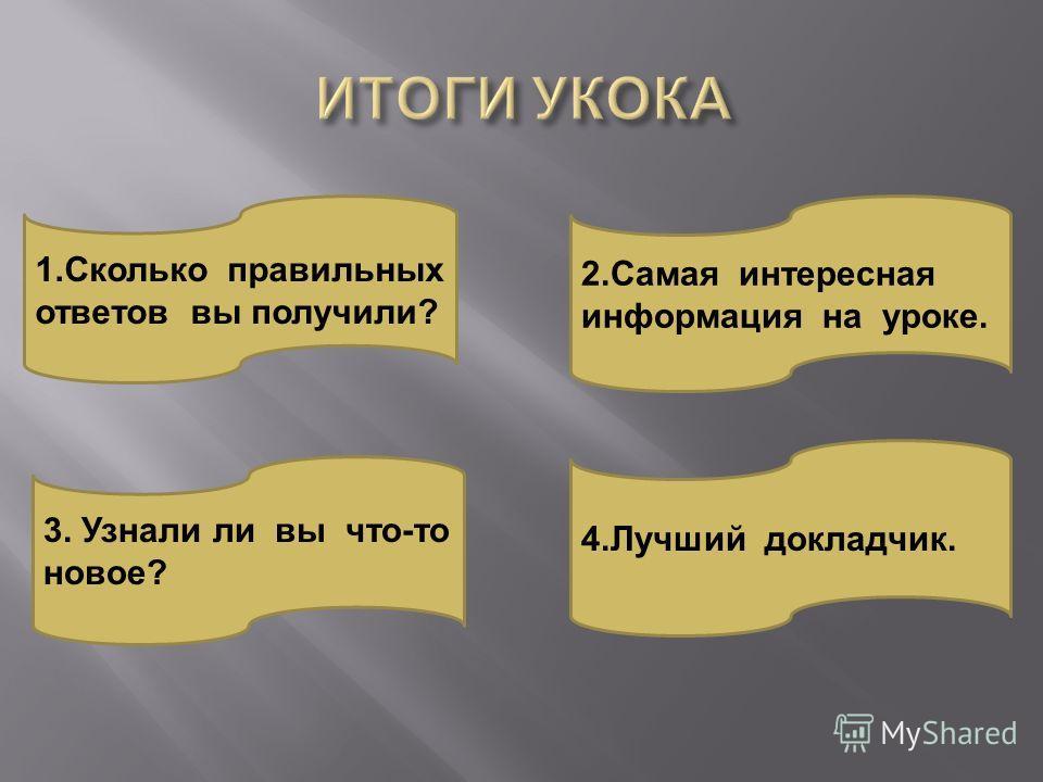 2. Самая интересная информация на уроке. 1. Сколько правильных ответов вы получили ? 3. Узнали ли вы что - то новое ? 4. Лучший докладчик.