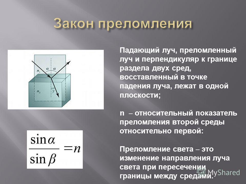 Падающий луч, преломленный луч и перпендикуляр к границе раздела двух сред, восставленный в точке падения луча, лежат в одной плоскости ; n – относительный показатель преломления второй среды относительно первой : Преломление света – это изменение на