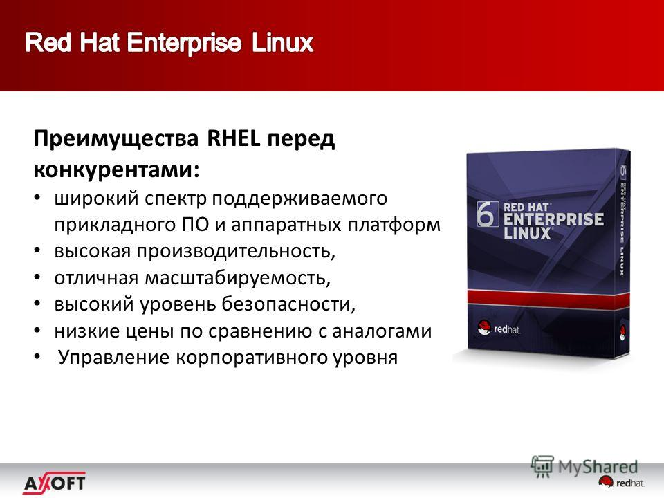Преимущества RHEL перед конкурентами: широкий спектр поддерживаемого прикладного ПО и аппаратных платформ высокая производительность, отличная масштабируемость, высокий уровень безопасности, низкие цены по сравнению с аналогами Управление корпоративн