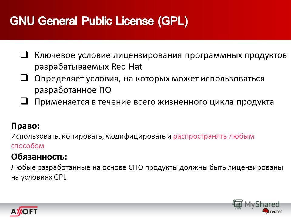 Ключевое условие лицензирования программных продуктов разрабатываемых Red Hat Определяет условия, на которых может использоваться разработанное ПО Применяется в течение всего жизненного цикла продукта Право: Использовать, копировать, модифицировать и