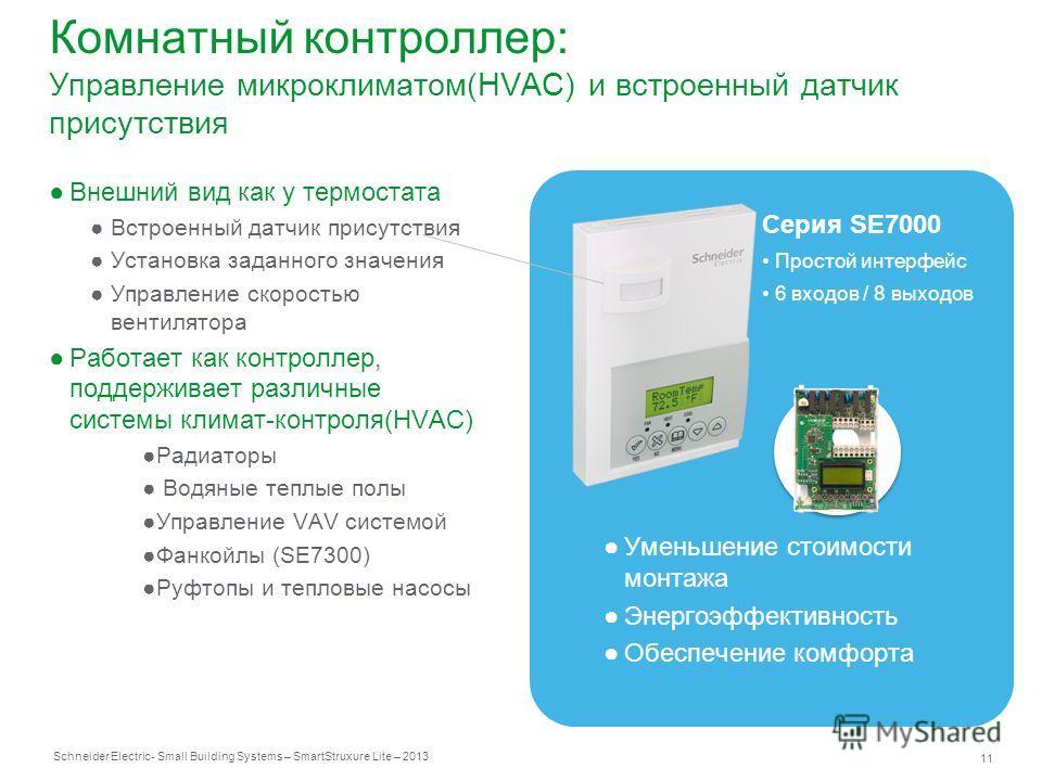 Schneider Electric 11 - Small Building Systems – SmartStruxure Lite – 2013 Комнатный контроллер: Управление микроклиматом(HVAC) и встроенный датчик присутствия Внешний вид как у термостата Встроенный датчик присутствия Установка заданного значения Уп
