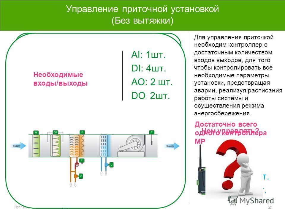 Schneider Electric 37 - Small Building Systems – SmartStruxure Lite – 2013 АI: 4 шт. DI: 1 шт. AO: 2 шт. DO : 2 шт. Управление приводами Датчики температуры Датчики перепада давления Сигналы вкл/выкл Управление приточной установкой (Без вытяжки) Для