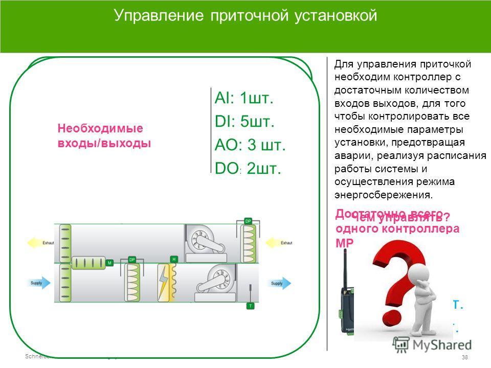 Schneider Electric 38 - Small Building Systems – SmartStruxure Lite – 2013 АI: 1 шт. DI: 5 шт. AO: 3 шт. DO : 2 шт. Управление приводами Датчики температуры Датчики перепада давления Сигналы вкл/выкл насоса Сигналы вкл/выкл вентилятора/частотного пре