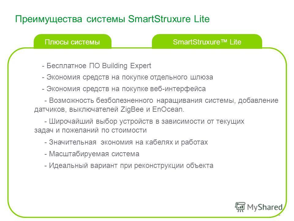 Schneider Electric 55 - Small Building Systems – SmartStruxure Lite – 2013 - Бесплатное ПО Building Expert Преимущества системы SmartStruxure Lite SmartStruxure Lite Плюсы системы - Экономия средств на покупке отдельного шлюза - Экономия средств на п