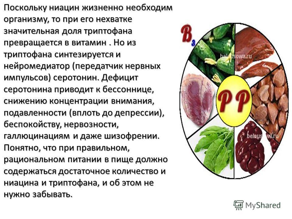 Поскольку ниацин жизненно необходим организму, то при его нехватке значительная доля триптофана превращается в витамин. Но из триптофана синтезируется и нейромедиатор (передатчик нервных импульсов) серотонин. Дефицит серотонина приводит к бессоннице,