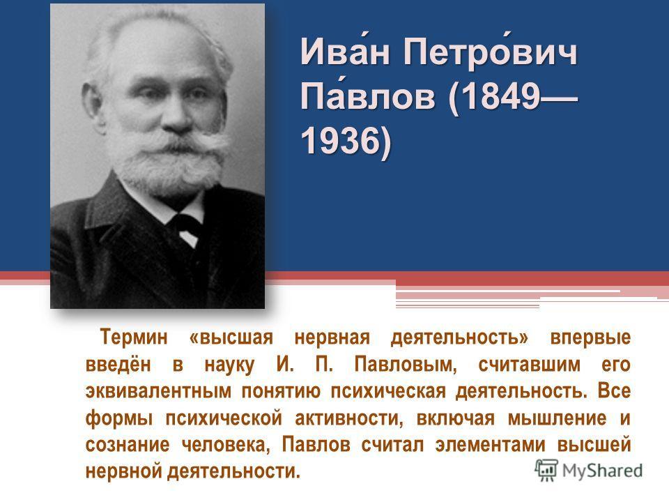 Термин «высшая нервная деятельность» впервые введён в науку И. П. Павловым, считавшим его эквивалентным понятию психическая деятельность. Все формы психической активности, включая мышление и сознание человека, Павлов считал элементами высшей нервной