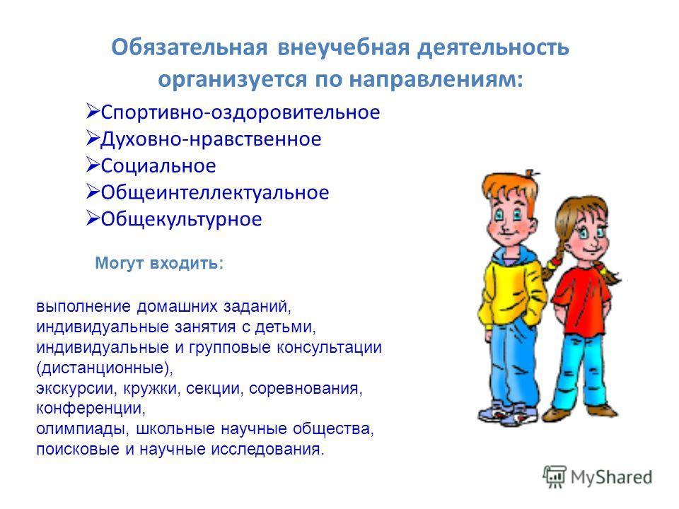 Обязательная внеучебная деятельность организуется по направлениям: Спортивно-оздоровительное Духовно-нравственное Социальное Общеинтеллектуальное Общекультурное Могут входить: выполнение домашних заданий, индивидуальные занятия с детьми, индивидуальн