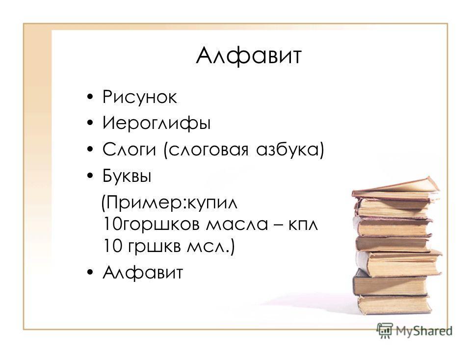 Алфавит Рисунок Иероглифы Слоги (слоговая азбука) Буквы (Пример:купил 10 горшков масла – кпп 10 горшков мсл.) Алфавит