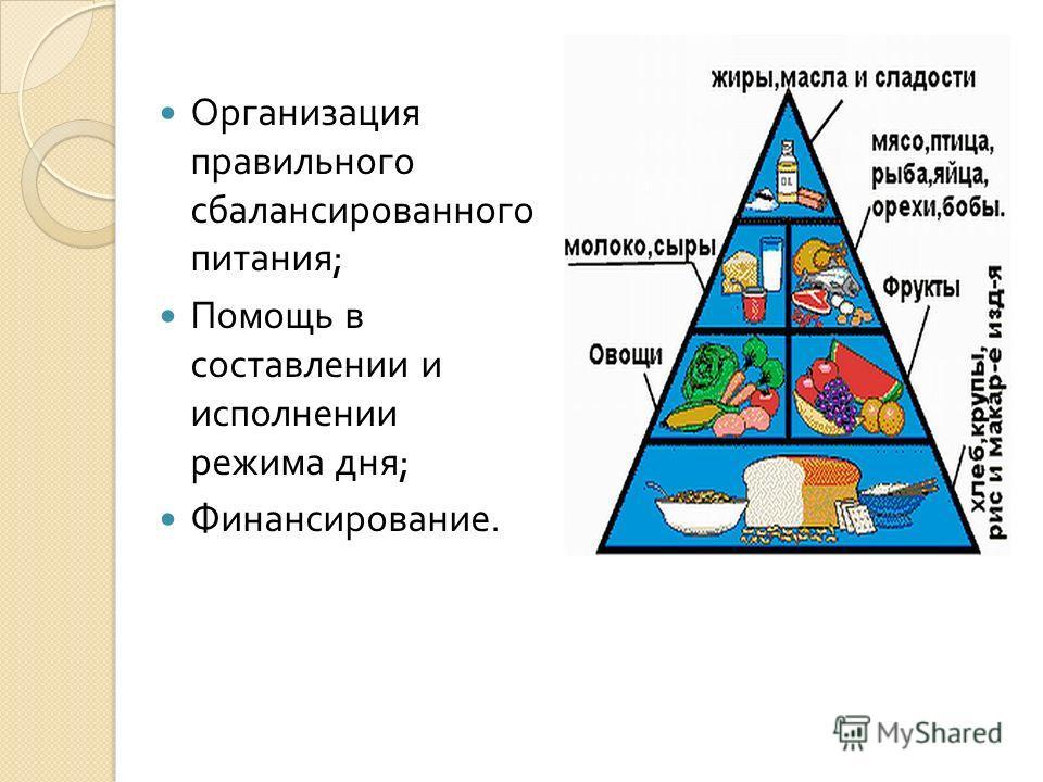 Организация правильного сбалансированного питания ; Помощь в составлении и исполнении режима дня ; Финансирование.