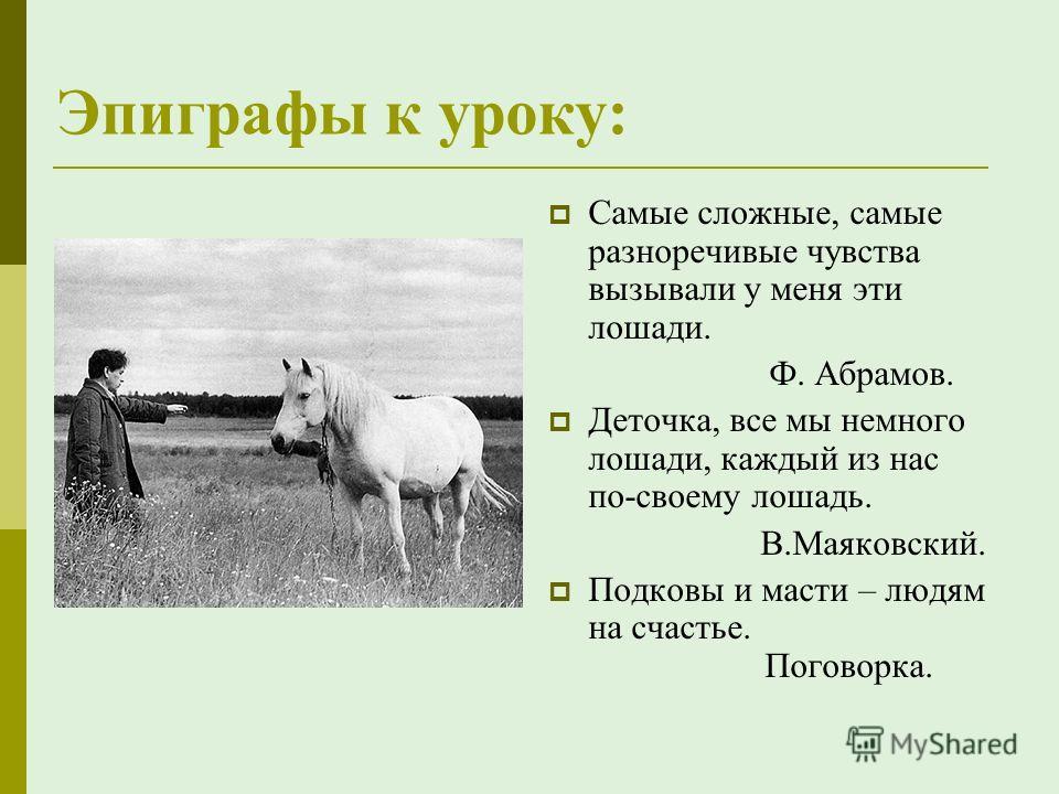 Эпиграфы к уроку: Самые сложные, самые разноречивые чувства вызывали у меня эти лошади. Ф. Абрамов. Деточка, все мы немного лошади, каждый из нас по-своему лошадь. В.Маяковский. Подковы и масти – людям на счастье. Поговорка.
