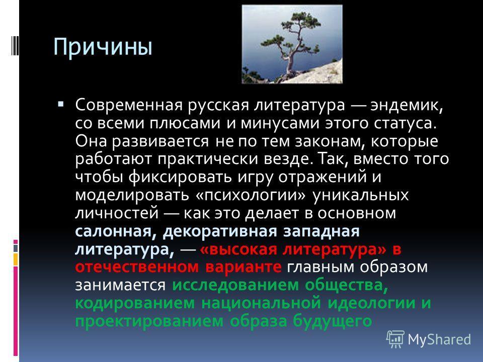 Причины Современная русская литература эндемик, со всеми плюсами и минусами этого статуса. Она развивается не по тем законам, которые работают практически везде. Так, вместо того чтобы фиксировать игру отражений и моделировать «психологии» уникальных