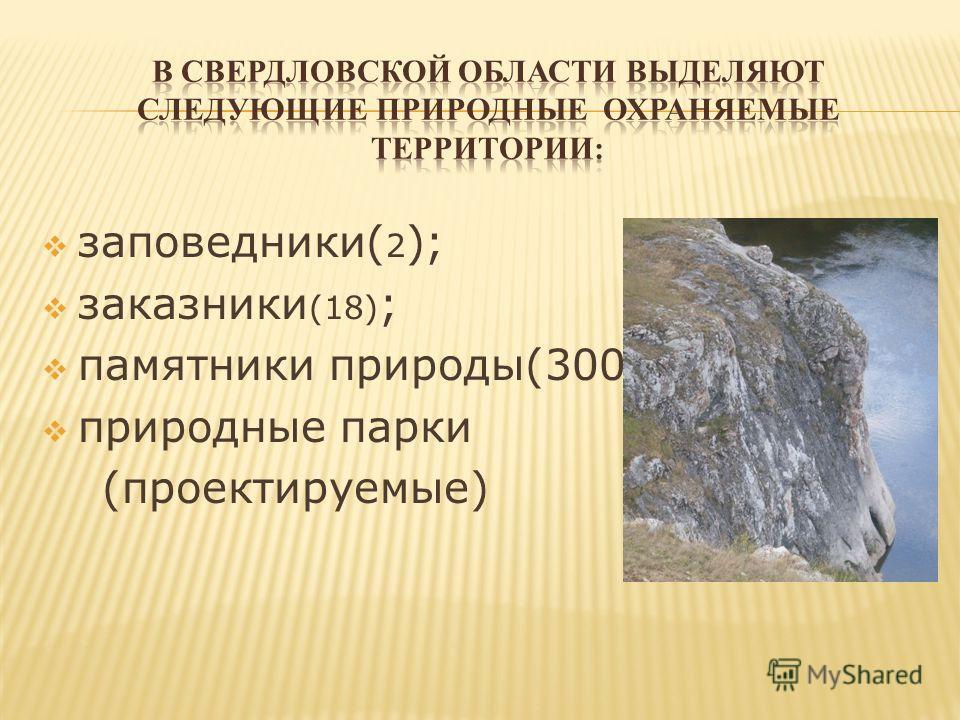 заповедники( 2 ); заказники (18) ; памятники природы(300); природные парки (проектируемые)