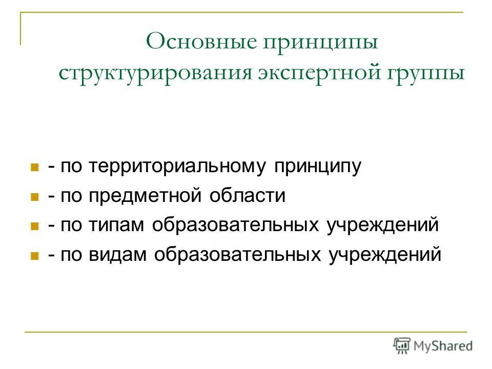 Основные принципы структурирования экспертной группы - по территориальному принципу - по предметной области - по типам образовательных учреждений - по видам образовательных учреждений