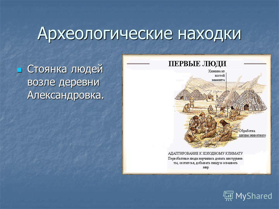 Археологические находки Стоянка людей возле деревни Александровка. Стоянка людей возле деревни Александровка.
