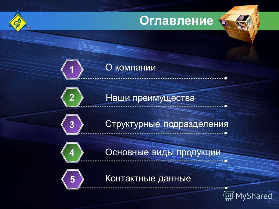 Оглавление О компании 1 Структурные подразделения 2 Основные виды продукции 3 Контактные данные 4 Наши преимущества 5