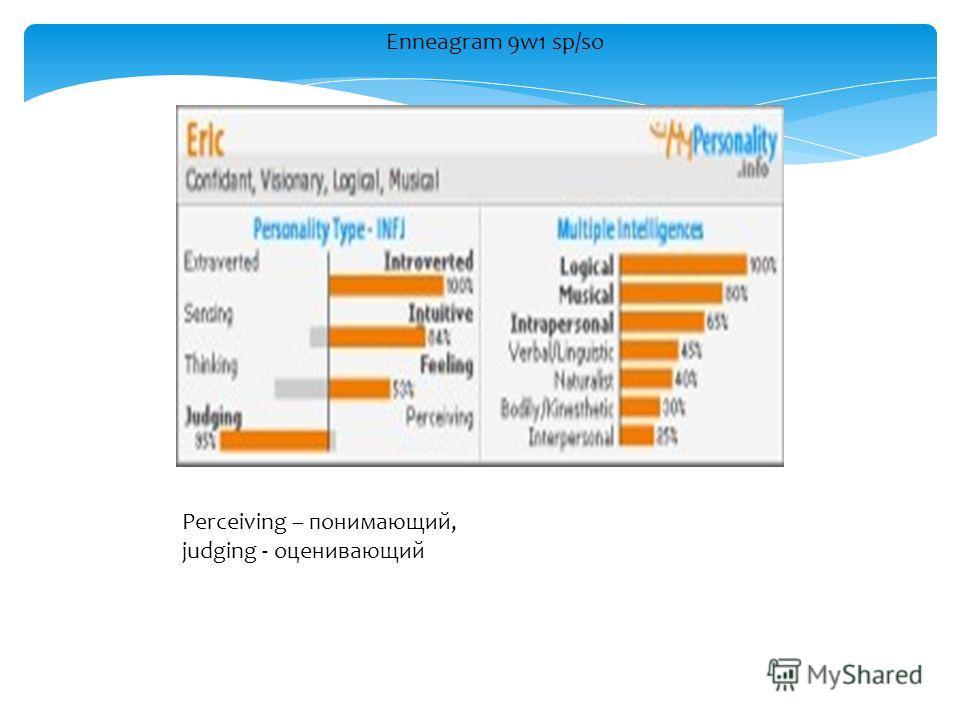 Enneagram 9w1 sp/so Perceiving – понимающий, judging - оценивающий