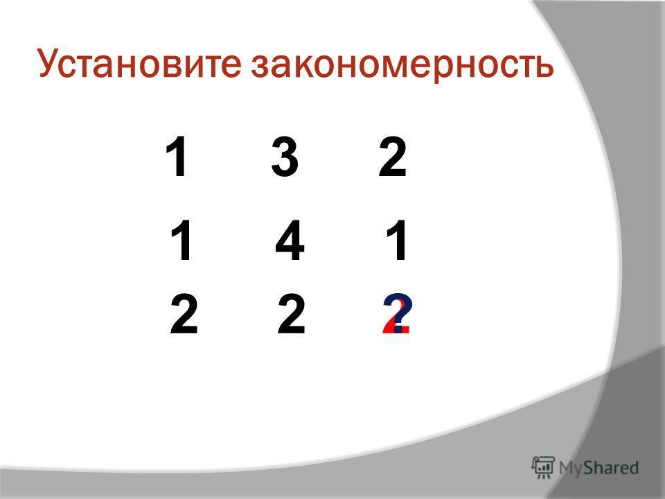 Установите закономерность 1 3 2 2 1 4 1 2 ?