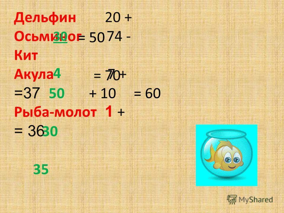 Дельфин 20 + Осьминог 74 - Кит Акула 7 + =37 Рыба-молот 1 + = 36 30 50+ 10 30 4 35 = 50 = 70 = 60