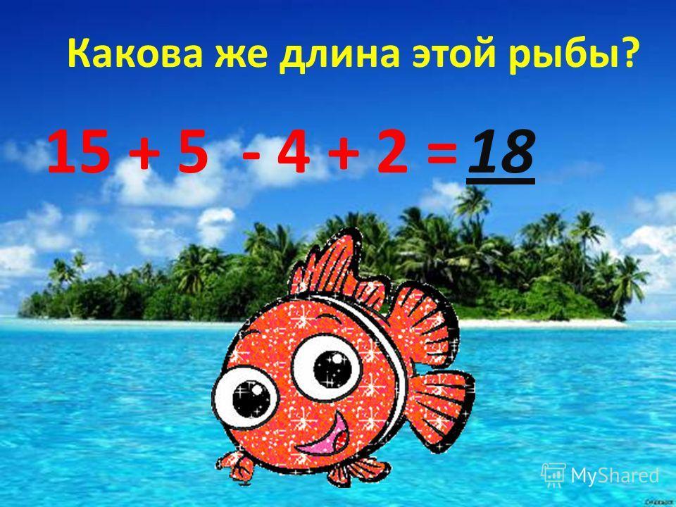 Какова же длина этой рыбы? 15 + 5 - 4 + 2 =18