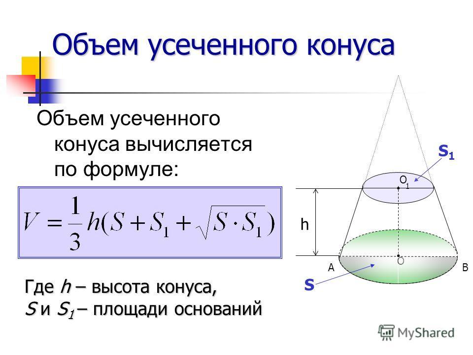 Объем усеченного конуса Объем усеченного конуса вычисляется по формуле: Где h – высота конуса, S и S 1 – площади оснований S1S1 S B O A O 1 h