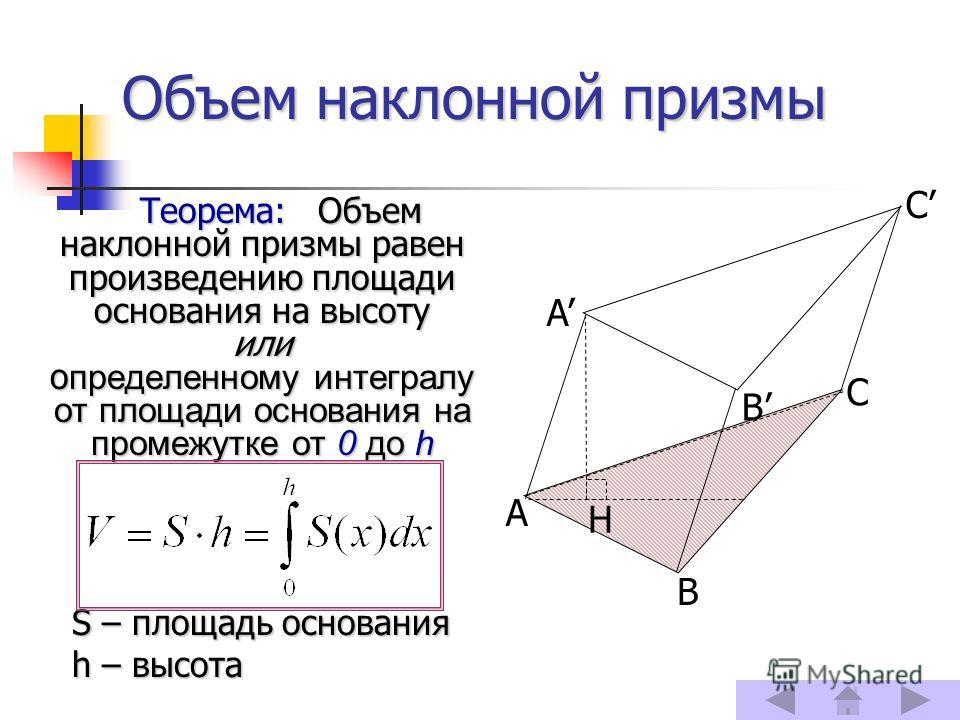 Объем наклонной призмы Теорема: Объем наклонной призмы равен произведению площади основания на высоту или определенному интегралу от площади основания на промежутке от 0 до h S – площадь основания h – высота A B C C A B H