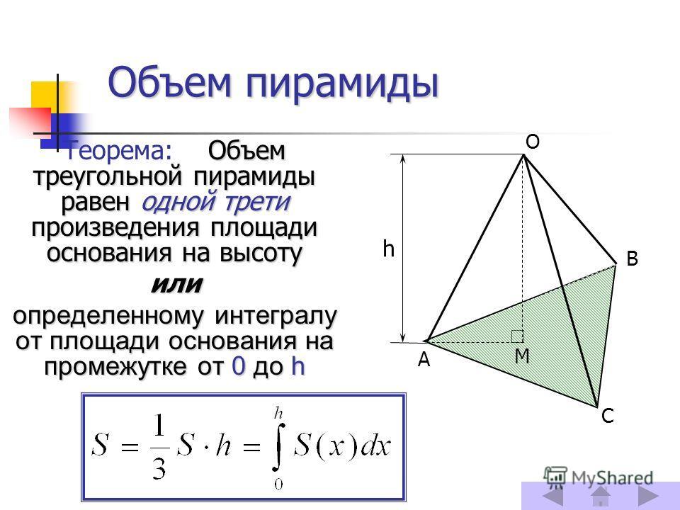 Объем пирамиды Объем треугольной пирамиды равен одной трети произведения площади основания на высоту Теорема: Объем треугольной пирамиды равен одной трети произведения площади основания на высоту или определенному интегралу от площади основания на пр