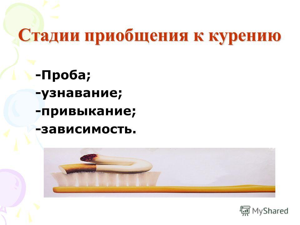 Стадии приобщения к курению -Проба; -узнавание; -привыкание; -зависимость.