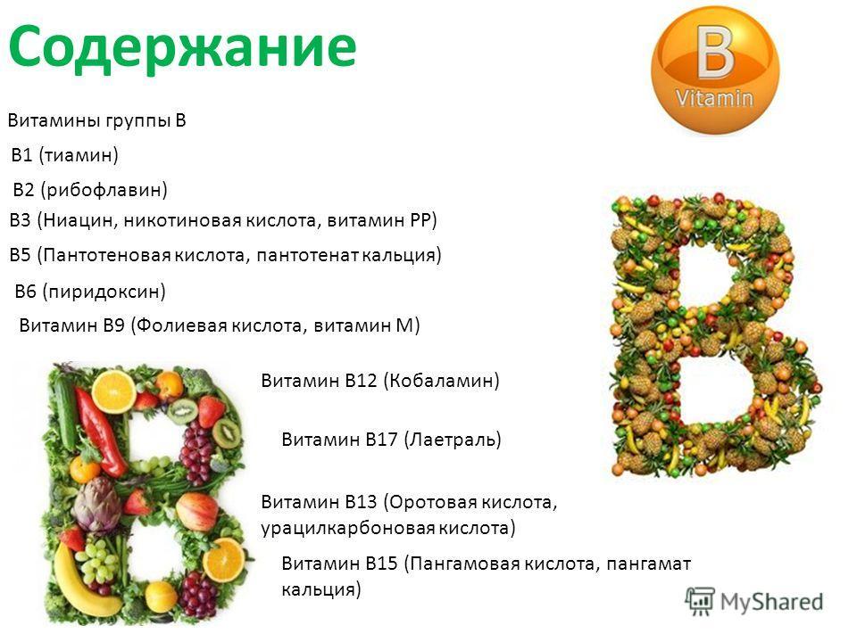 Содержание Витамины группы B В1 (тиамин) В2 (рибофлавин) В3 (Ниацин, никотиновая кислота, витамин PP) В5 (Пантотеновая кислота, пантотенат кальция) В6 (пиридоксин) Витамин B9 (Фолиевая кислота, витамин M) Витамин В12 (Кобаламин) Витамин B13 (Оротовая