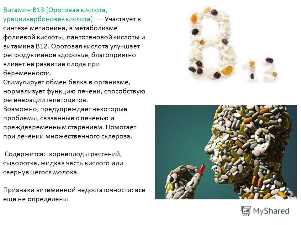 Витамин B13 (Оротовая кислота, урацил карбоновая кислота) Участвует в синтезе метионина, в метаболизме фолиевой кислоты, пантотеновой кислоты и витамина В12. Оротовая кислота улучшает репродуктивное здоровье, благоприятно влияет на развитие плода при