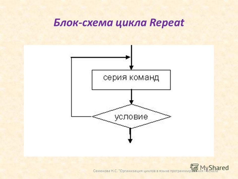 Блок-схема цикла Repeat Семенова Н.С. Организация циклов в языке программирования Паскаль