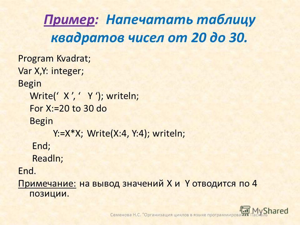 Пример: Напечатать таблицу квадратов чисел от 20 до 30. Program Kvadrat; Var X,Y: integer; Begin Write( X, Y ); writeln; For X:=20 to 30 do Begin Y:=X*X; Write(X:4, Y:4); writeln; End; Readln; End. Примечание: на вывод значений X и Y отводится по 4 п