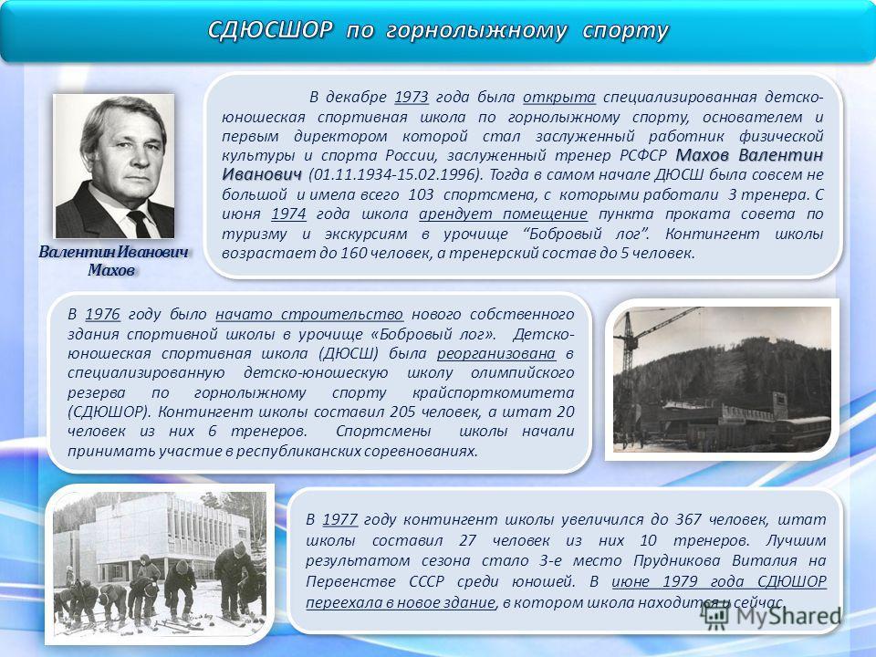 Махов Валентин Иванович В декабре 1973 года была открыта специализированная детско- юношеская спортивная школа по горнолыжному спорту, основателем и первым директором которой стал заслуженный работник физической культуры и спорта России, заслуженный