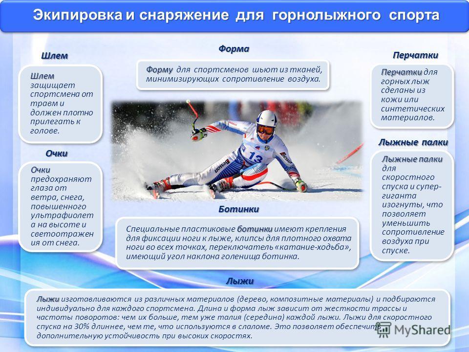 Экипировка и снаряжение для горнолыжного спорта Лыжи Лыжи Лыжи изготавливаются из различных материалов (дерево, композитные материалы) и подбираются индивидуально для каждого спортсмена. Длина и форма лыж зависит от жесткости трассы и частоты поворот