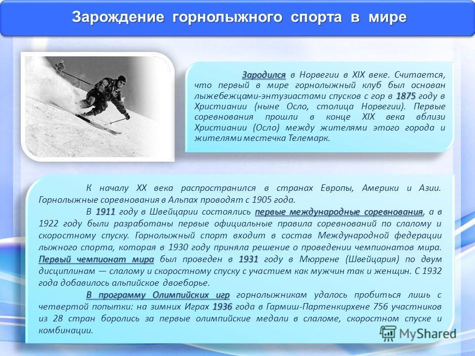 Зарождение горнолыжного спорта в мире К началу XX века распространился в странах Европы, Америки и Азии. Горнолыжные соревнования в Альпах проводят с 1905 года. 1911 первые международные соревнования Первый чемпионат мира 1931 В 1911 году в Швейцарии