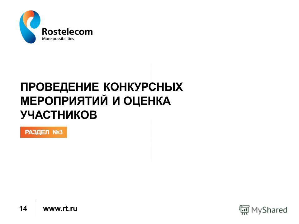 www.rt.ru ПРОВЕДЕНИЕ КОНКУРСНЫХ МЕРОПРИЯТИЙ И ОЦЕНКА УЧАСТНИКОВ РАЗДЕЛ 3 14