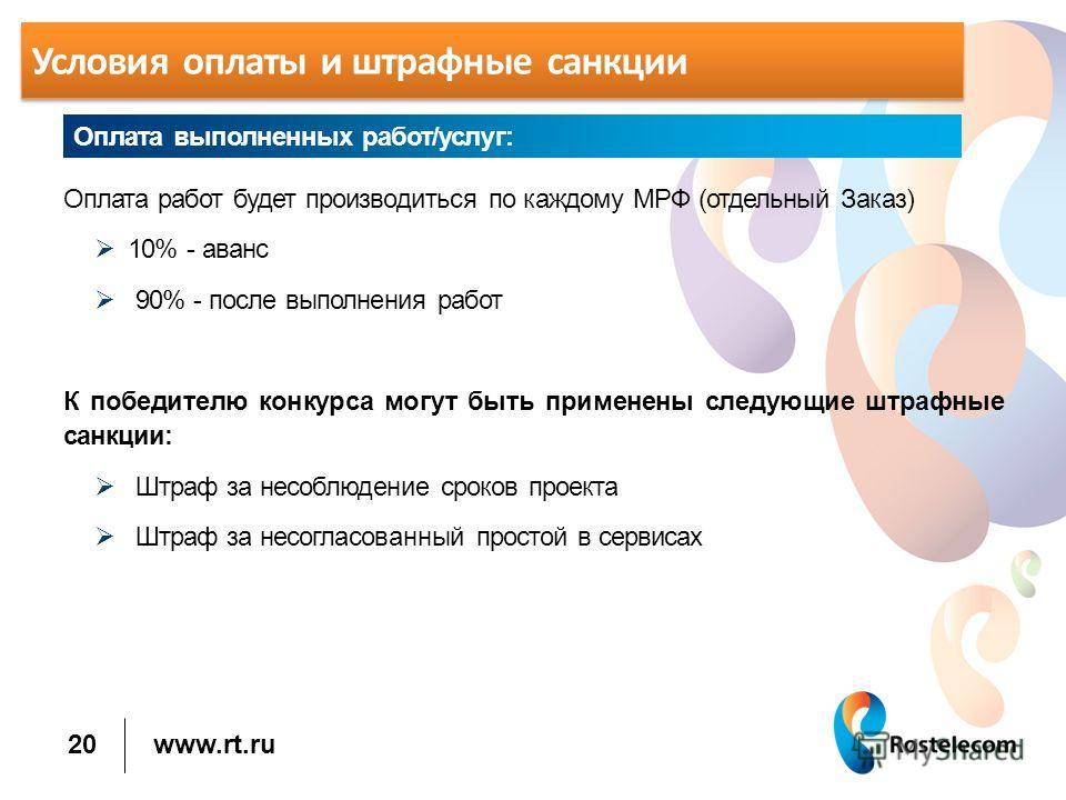 www.rt.ru Условия оплаты и штрафные санкции Оплата работ будет производиться по каждому МРФ (отдельный Заказ) 10% - аванс 90% - после выполнения работ К победителю конкурса могут быть применены следующие штрафные санкции: Штраф за несоблюдение сроков