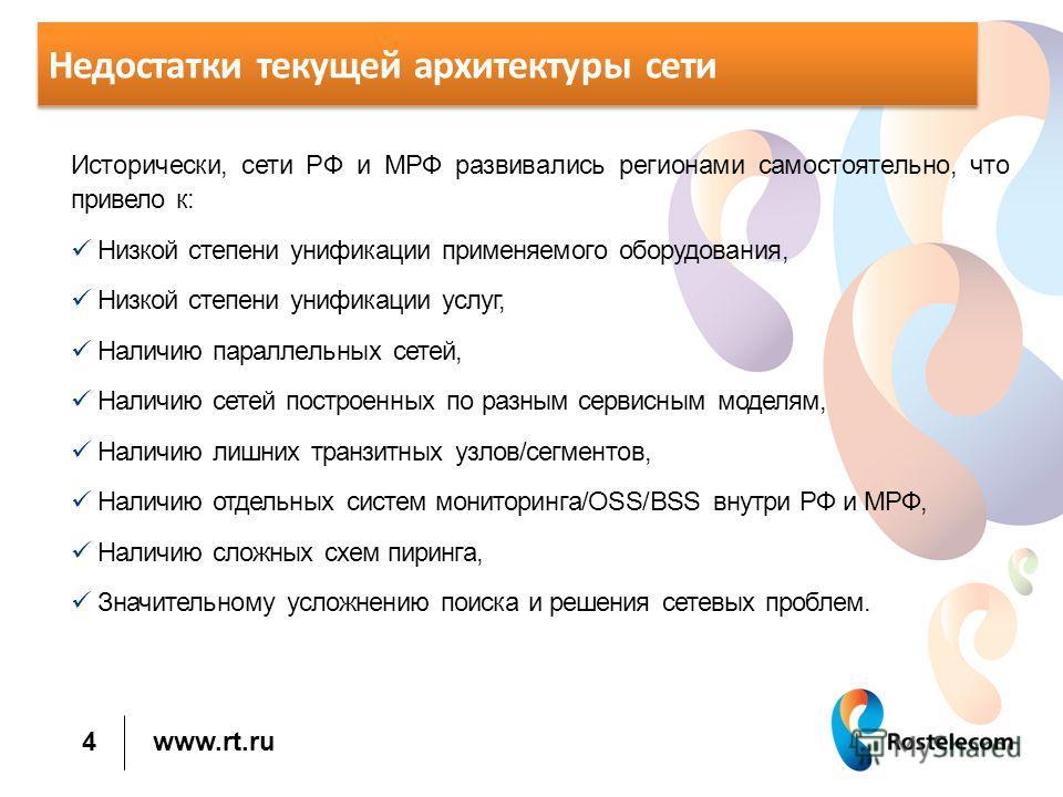 www.rt.ru Недостатки текущей архитектуры сети Исторически, сети РФ и МРФ развивались регионами самостоятельно, что привело к: Низкой степени унификации применяемого оборудования, Низкой степени унификации услуг, Наличию параллельных сетей, Наличию се