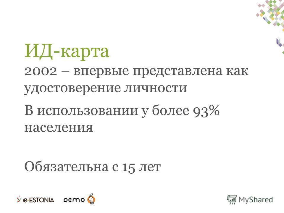 ИД-карта 2002 – впервые представлена как удостоверение личности В использовании у более 93% населения Обязательна с 15 лет